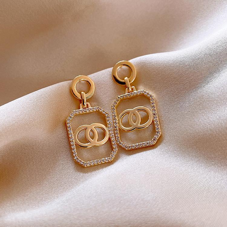 Rhinestone Decor Geometric Drop Earrings