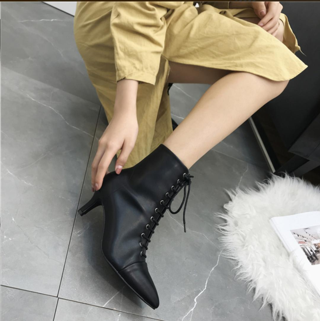 Pointed Toe Lace Up Heel Shoes
