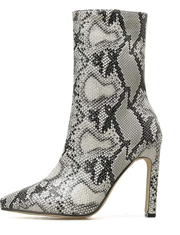 Snake Print Zipper High Heel Pointed Toe Ankle Boots