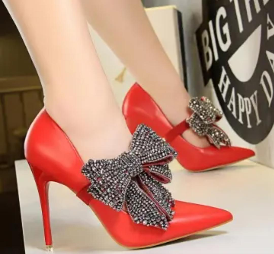 Rhinestone Studded Bow Decor High Heel Stilletos