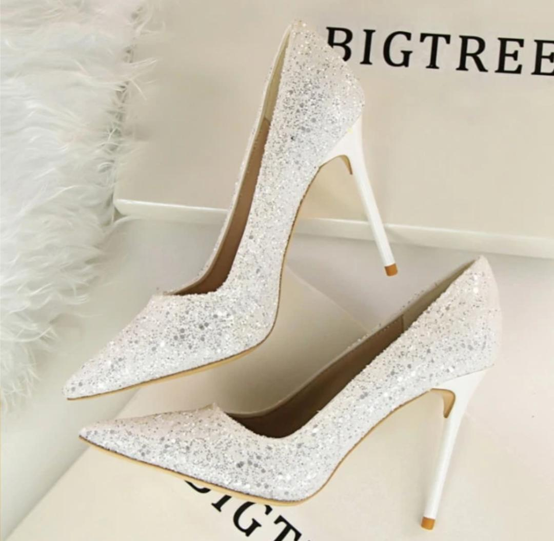Glitter Finish High Heel Pumps