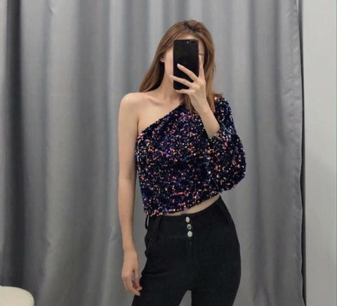 SEQUINS ONE SHOULDER TOP (PRE ORDER)