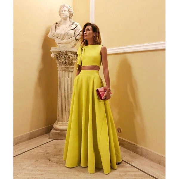 Solid Color Large Hem Yellow Crop Top And Long Skirt Set (PRE ORDER)