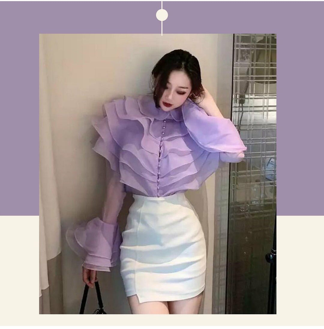 RUFFLED PURPLE TOP (PRE ORDER)