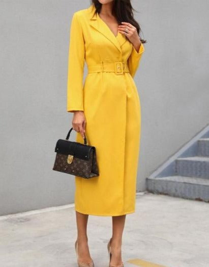 YELLOW COLOURED HIGH SLIT GOWN~