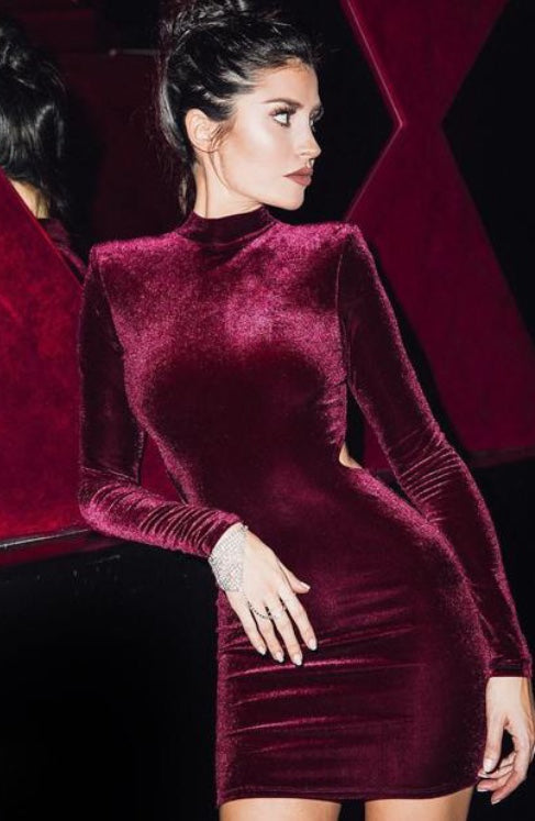 VELVET FULL SLEEVED BODYCON DRESS (PRE ORDER)