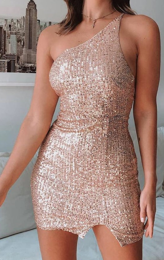 ROSE GOLD SEQUIN ONE SHOULDER MINI DRESS (PRE ORDER)