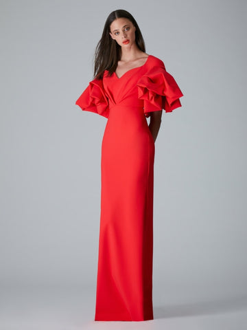SOLID ROSE RUFFLE SLEEVE GOWN (PRE ORDER)
