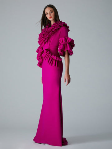 SOLID STRAIGHT RUFFLE STYLE GOWN (PRE ORDER)