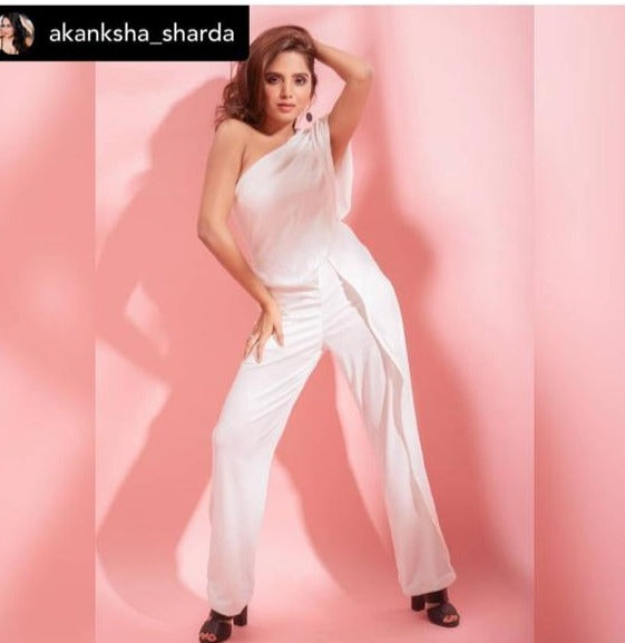ONE SHOULDER FLOWY RUFFLE JUMPSUIT (PRE ORDER)