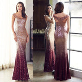 Red Gold Sequins Mermaid Gown~