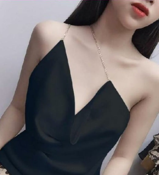 CHAIN STRAP BLACK CAMISOLE CROP TOP (PRE ORDER)