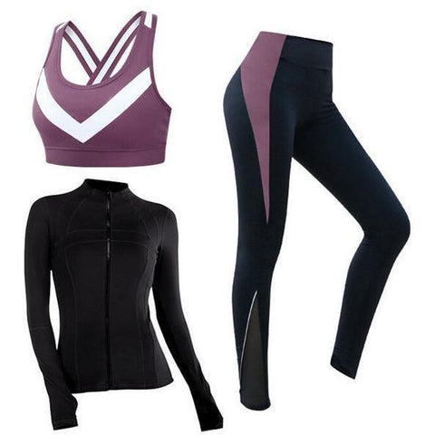 Fitness gym women 3 piece set coats+bra+leggings~