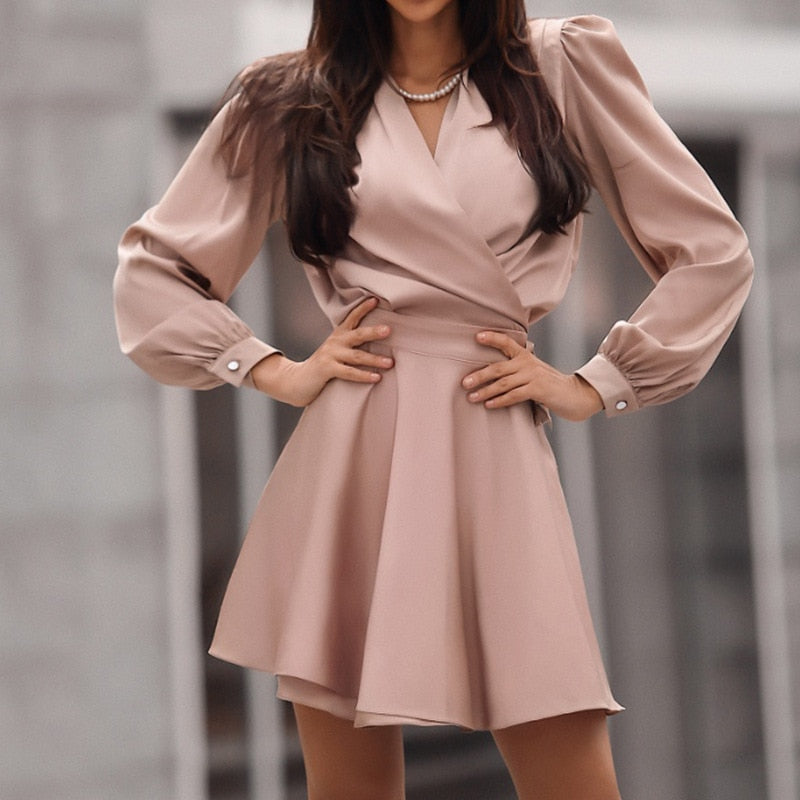 WINTER SOLID COLOR CASUAL SLIM MINI DRESS (PRE ORDER)
