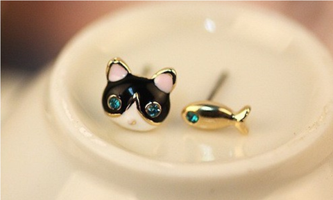 Meow Prestige Cat lovers 貓奴 首飾 貓精品 고양이덕후 냥집사 야옹 고양이 고양이제품 Simple Fashion Blue Crystal  Cat And Fish Asymmetric Earring