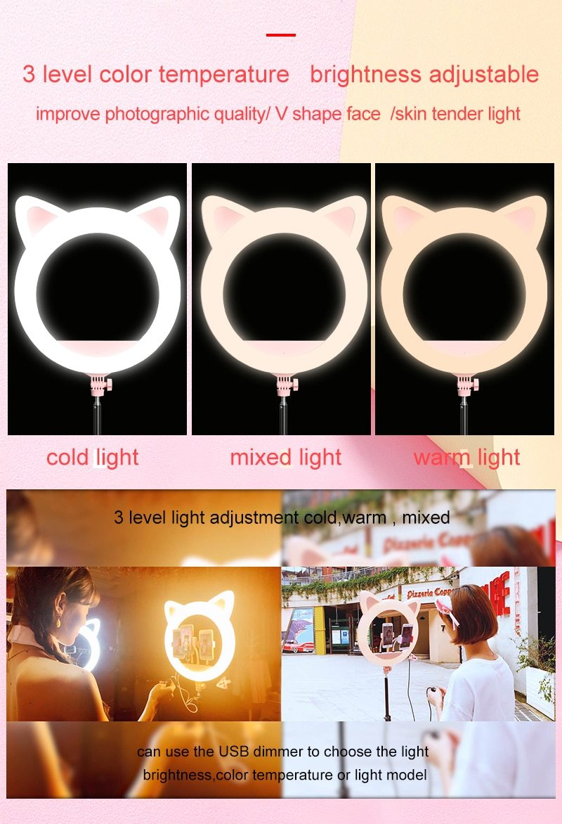 Meow Prestige Cat Lovers 20 inch LED Cat Ear Dimmable Studio Ring Light
