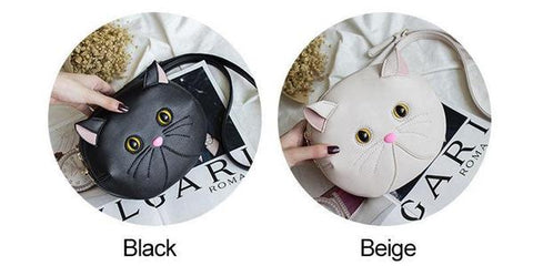 Leather Messenger Bag Cute 3D Cat Crossbody Bag