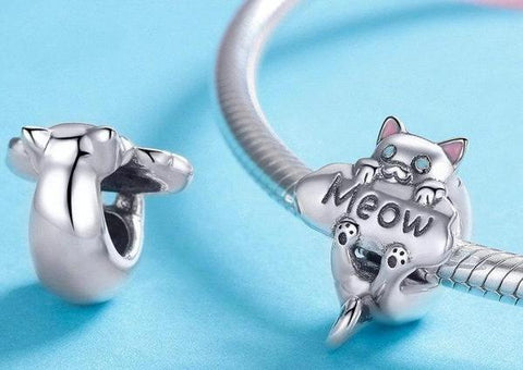 Cat Lovers 925 Sterling Silver Naughty Cat Charm for Bracelet Meow Prestige Cat lovers gifts 貓奴 首飾 貓精品 고양이덕후 냥집사 야옹 고양이 고양이제품
