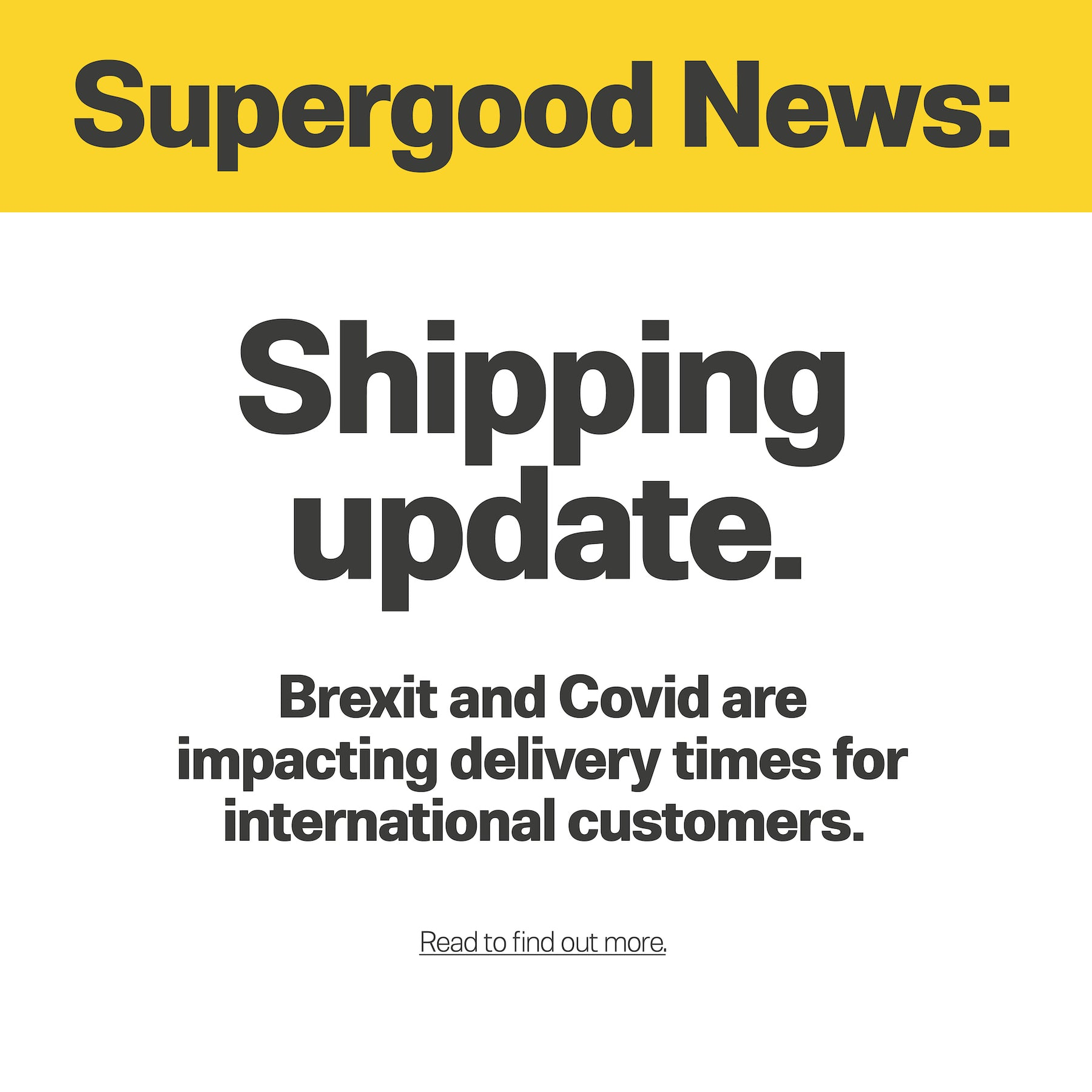 Shipping update for customers