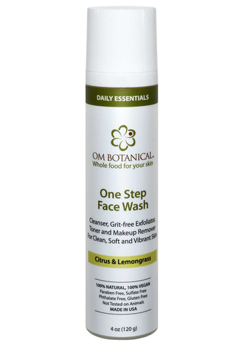 ONE STEP EXFOLIATING FACE WASH - All-in-one Organic Cleanser, Make-up Remover, Toner , Grit Free Exfoliator