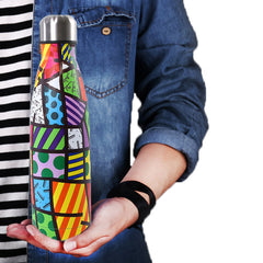 Amazeus 500 ml 17 oz cute coke style vacuum insulated double wall metal stainless steel water bottle spill proof hydro  thermos