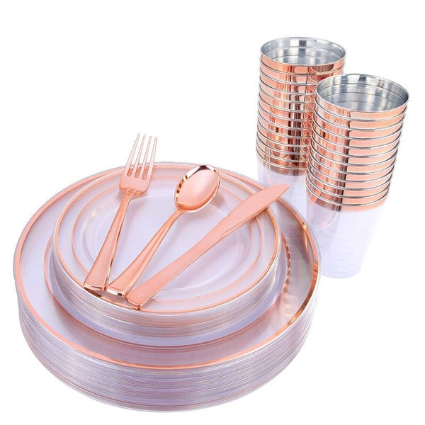 Rose Gold 25pcs Disposable Plastic Tableware Plates 1pcs Tablecloth 7pcs Balloon For Wedding Baby Shower Birthday Party Thanksgiving Christmas Holidays Supplies