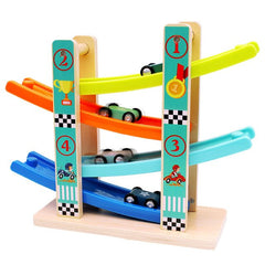 Top Bright Car Toddler Toys For 1 2 Year Old Boy And Girl Gifts Wooden Race Track Car Ramp Racer With 4 Mini Cars