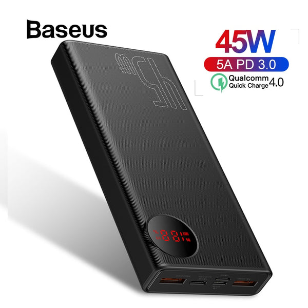 Baseus 20000mAh Power Bank 45W USB PD Fast Charging Powerbank for iPhone 11 Pro Max Xiaomi Quick Charge 4.0 3.0 External Battery