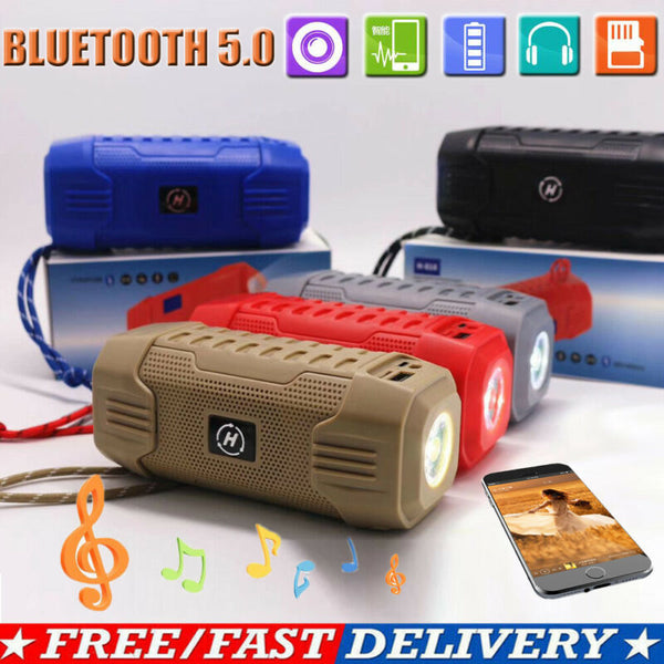 Portable Bluetooth 5.0 Wireless Outdoor Speaker USB Power Bank Bass 3.5mm AUX Stereo Music Loudspeaker TF built-in flashlight