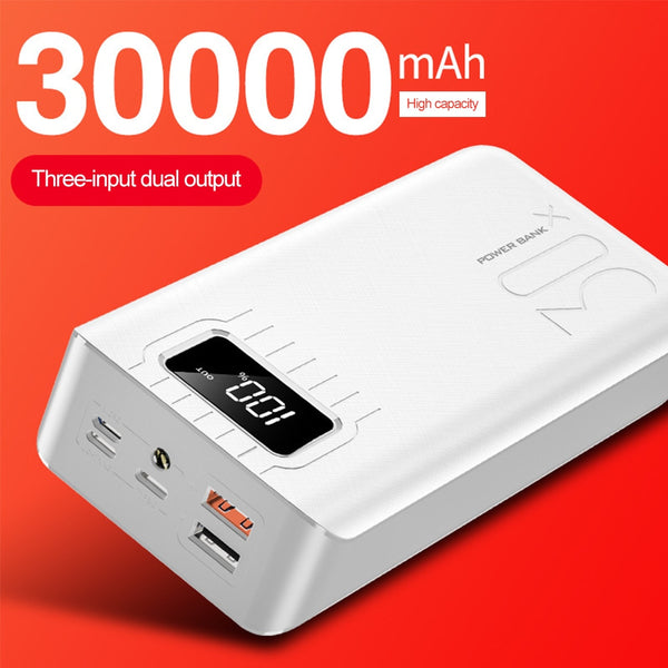Power Bank 30000mAh TypeC Micro USB QC Fast Charging Powerbank LED Display Portable External Battery Charger For Xiaomi Huawei