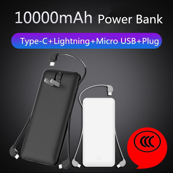XIN-MUM 10000mAh Power Bank with Wall Plug-in and Cables for iPhone Samsung Xiaomi Huawei LG Protable Charger Battery Powerbank