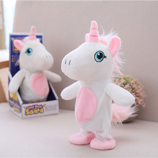 1pc 25cm Creative Kawaii Unicorn Walking& learning Talking Stuffed Animal Horse Toy Sound Record Plush Unicorn Gift for kids