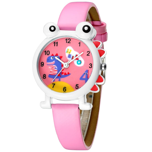 KDM 2019 Cute Children Watch Kids Girl Boys Watches Cartoon Dinosaur Waterproof Leather Lovely Kids Wristwatch Students Clock