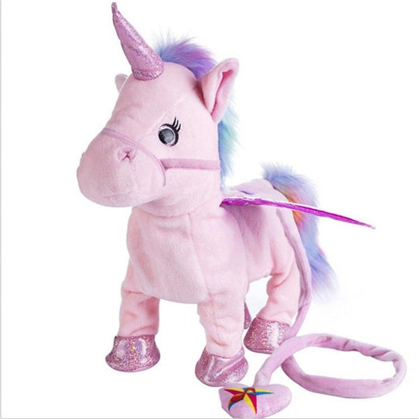 Electric Walking Unicorn Plush Toy Soft Horse Stuffed Animal Toys Electronic Sing Music Children