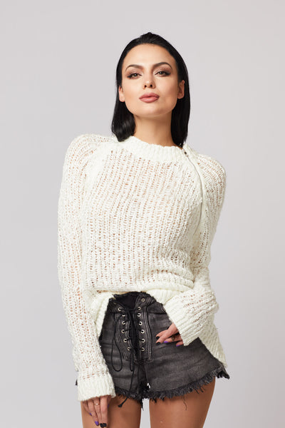 White Knit Side Zip Sweater - Berness