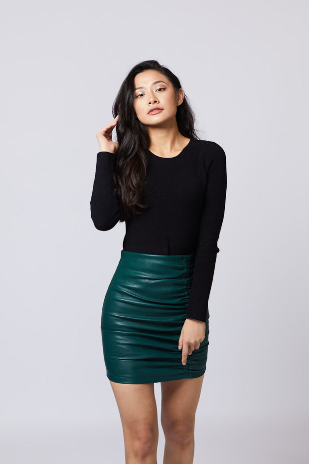 Ruched Faux Leather Skirt - Berness