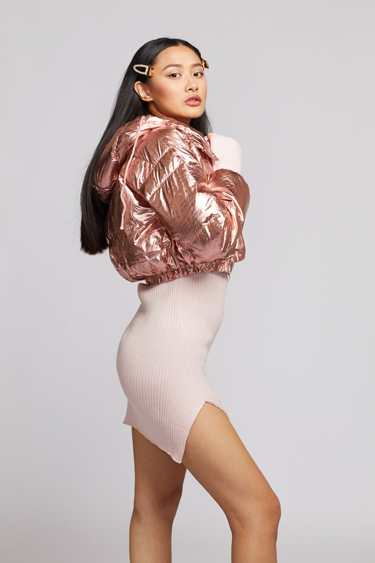 Metallic Cropped Puffer Jacket - Berness