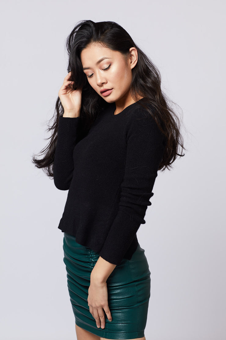 Ribbed Knit Back Tie Top - Berness