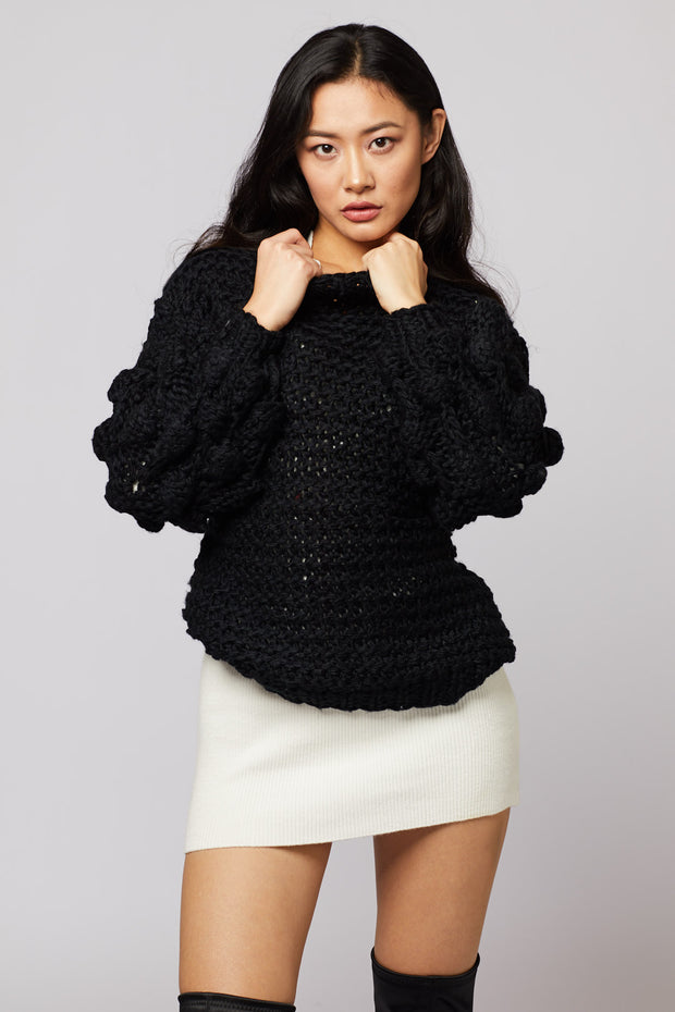 Pom Pom Hand-knit Sweater - Berness