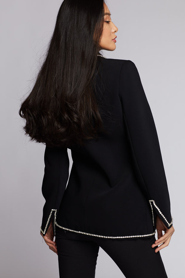 Black Rhinestone Detailed Suit Blazer Jacket - Berness