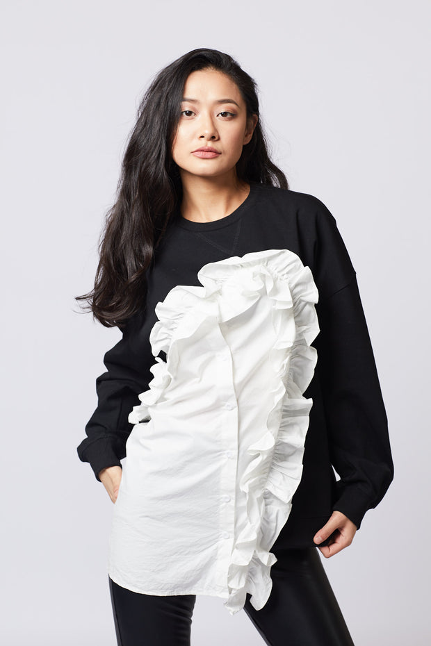 White Ruffle detailed Sweater - Berness
