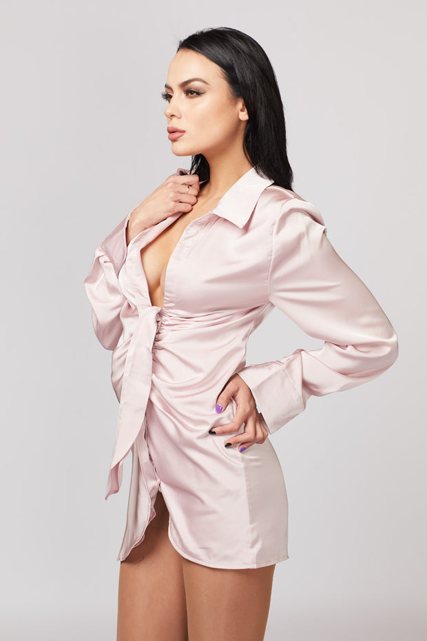 Satin Front Detailed Dress - Berness