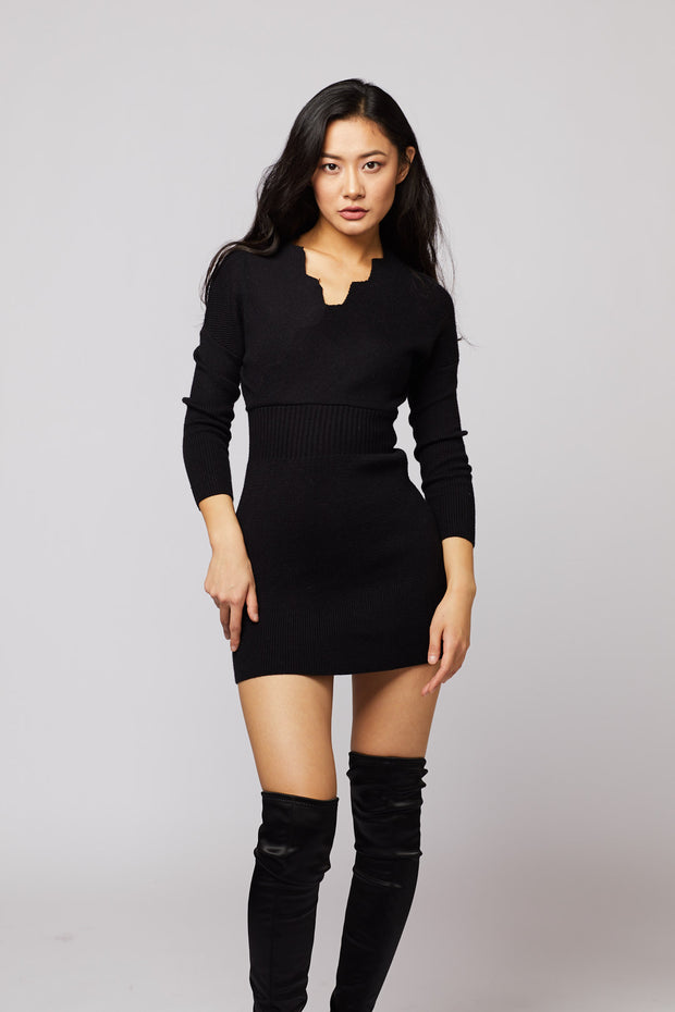 Wave Neck Detail Dress - Berness