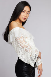 White Off The Shoulder Cropped Lace Blouse - Berness