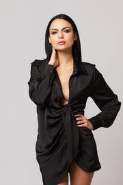 Satin Front Detailed Long Blouse - Berness