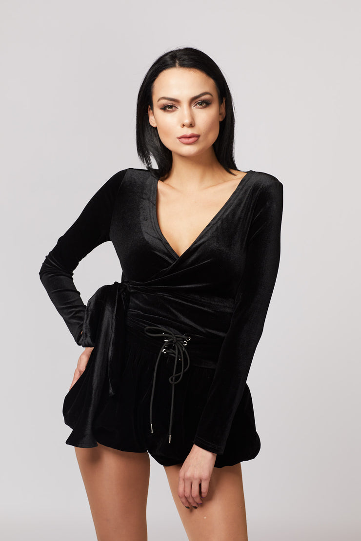 Velvet Front Wrap Long Sleeve Top - Berness