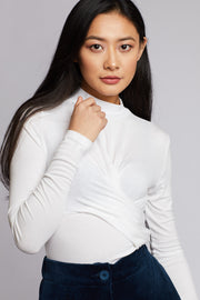 Twist Front High Neck Long Sleeve Top - Berness