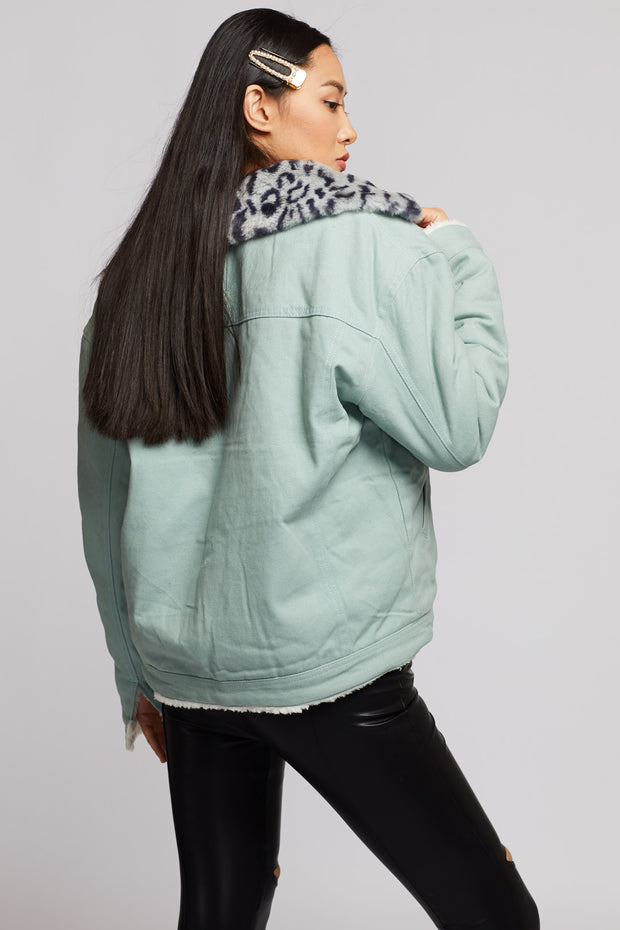 Leopard Collar Denim Jacket - Berness