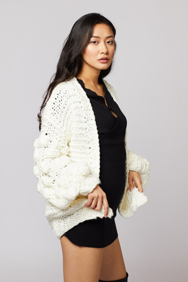 Pom Pom Hand-knit Cardigan - Berness