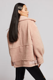 Oversized Borg Collar Aviator Jacket - Berness